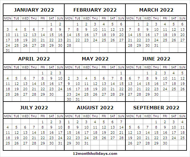 January to September Calendar 2022 Editable
