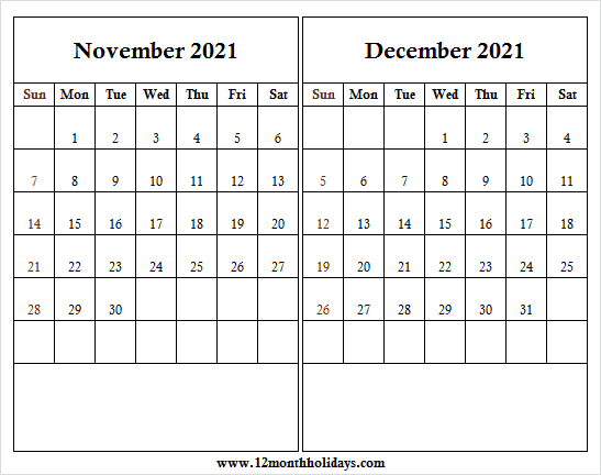 Nov Dec Printable Calendar 2021 with Lines