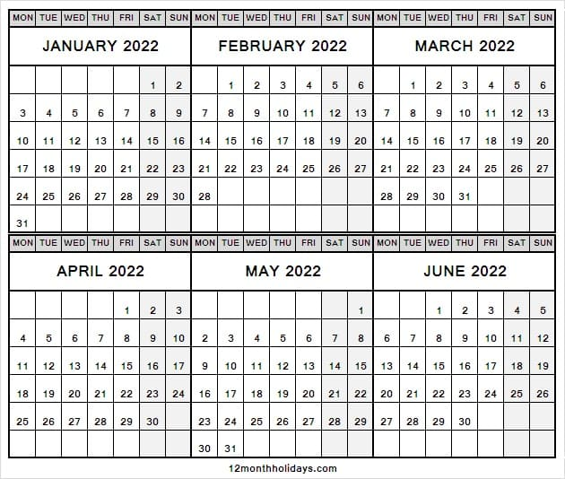 Printable January to June 2022 Calendar