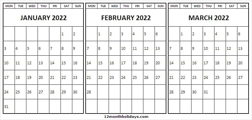 Printable January to March 2022 Calendar