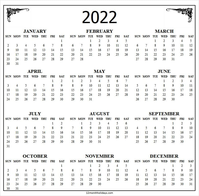 2022 Calendar Download Word