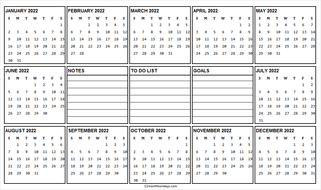2022 Yearly Calendar Landscape