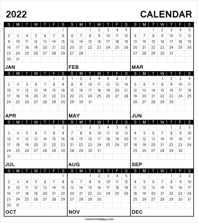 Calendar 2022 Black And White