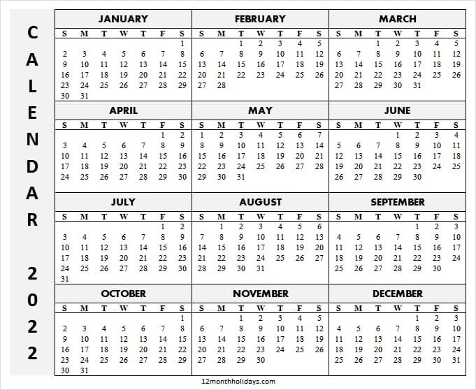 Downloadable Calendar 2022 with Week Numbers