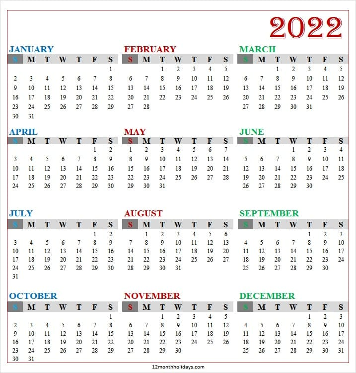 Yearly Calendar 2022 with Week Numbers
