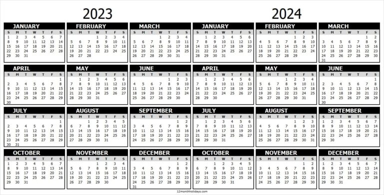 2 Year Calendar Planner 2023 and 2024