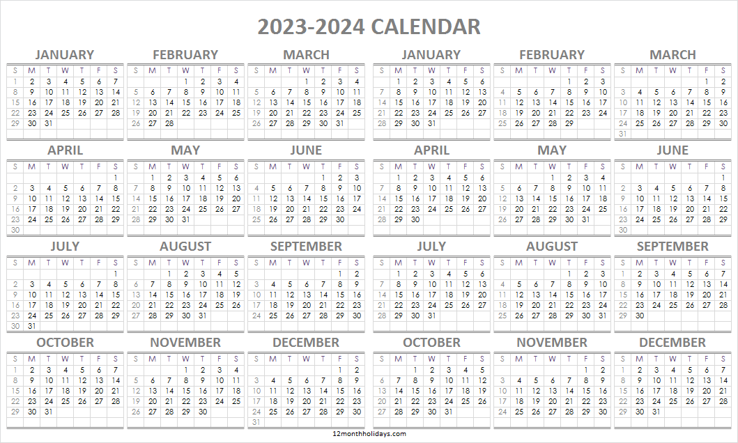 2023 and 2024 Calendar Pages
