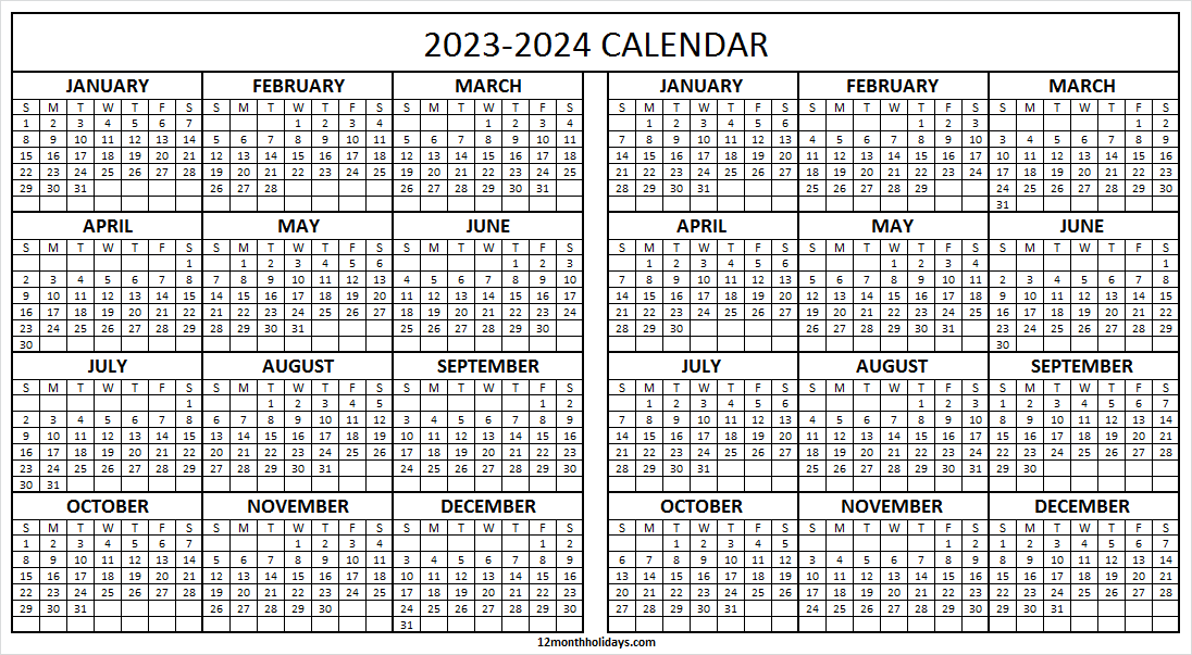 Free Printable 2023 And 2024 Calendar on One Page