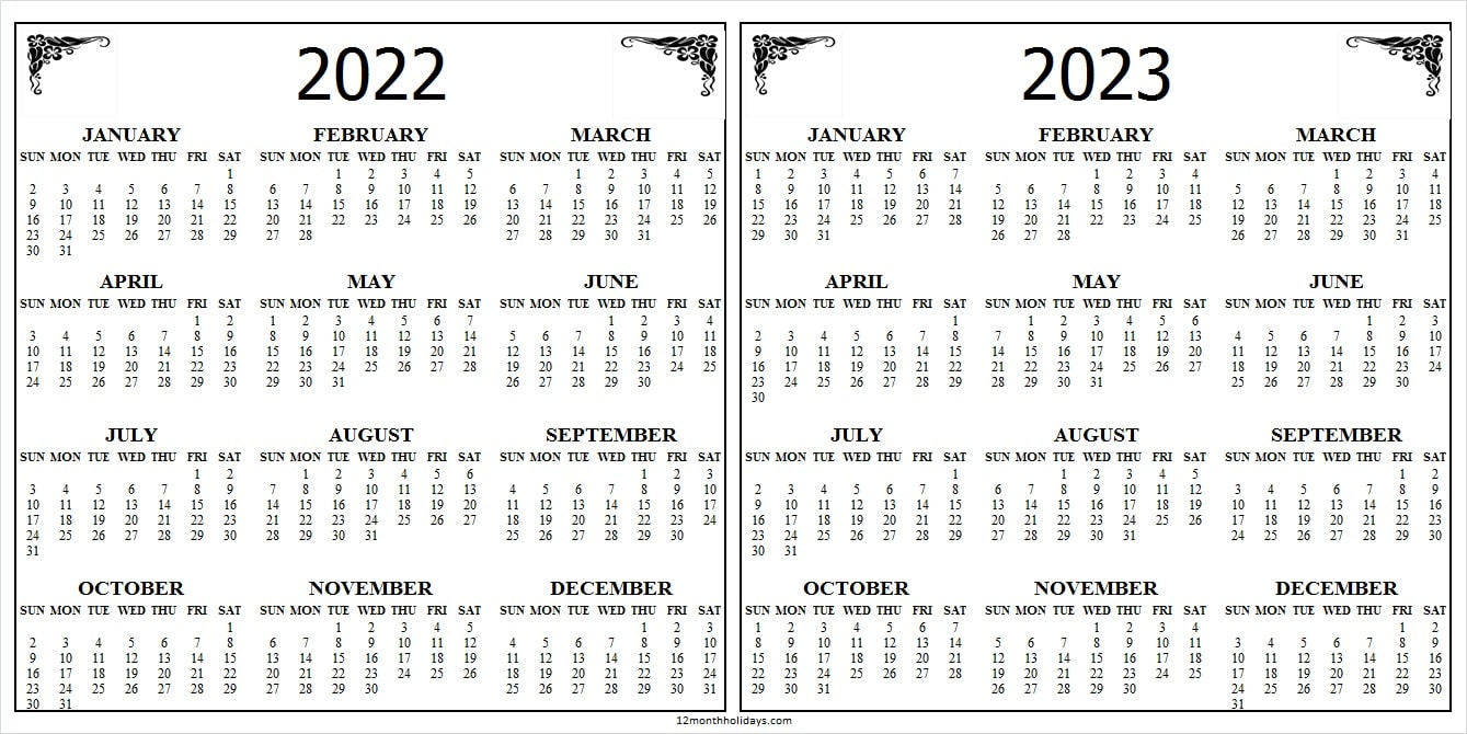 Two Year Calendar 2022 and 2023