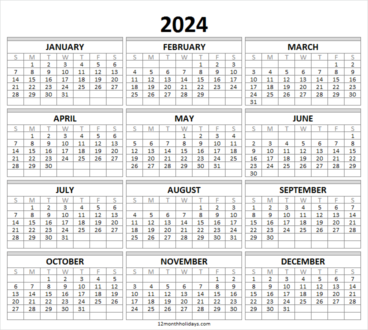 Yearly Calendar 2024 Template