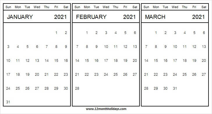 Three Month Calendar January to March 2021 | Excel | PDF ...