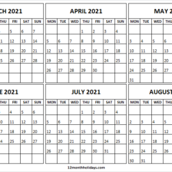Blank Printable Calendar March to August 2021