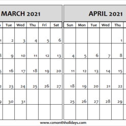 March April 2021 Calendar Free Printable Archives - All 12 ...
