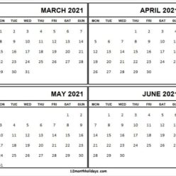 March to June Calendar 2021 Printable