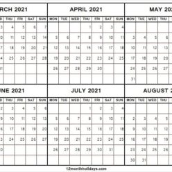 Printable March to August 2021 Calendar