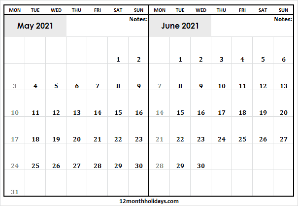 2021 May and June Calendar | Printable Calendar 2021