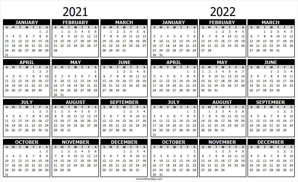 2 Year Calendar 2021 and 2022