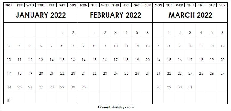2022 January to March Calendar Holidays