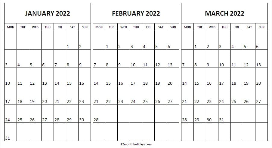 Calendar January to March 2022 A4