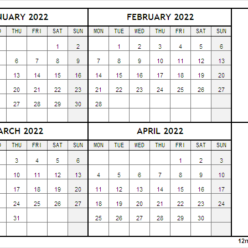 January to April 2022 Calendar with Notes