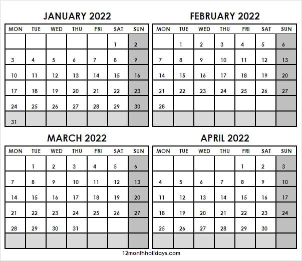 January to April 2022 Calendar