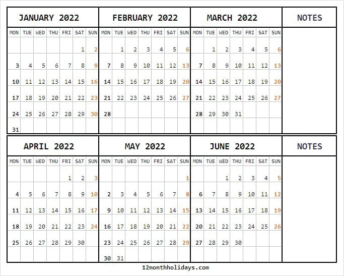 January to June 2022 Calendar with Notes
