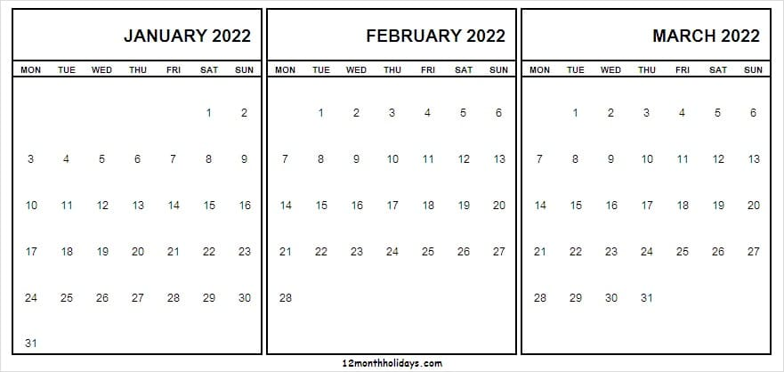 Print Free Calendar January to March 2022