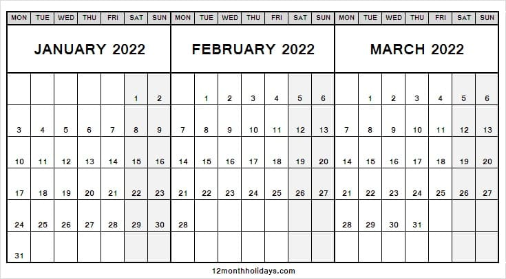 Printable Calendar January to March 2022
