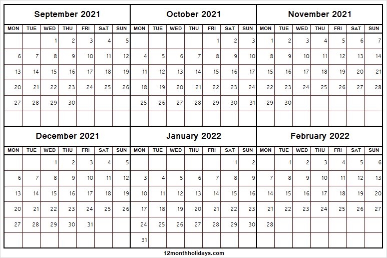 September 2021 to February 2022 Calendar with Notes | Tumblr