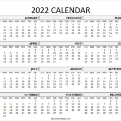 Full Year Free Printable 2022 Calendar