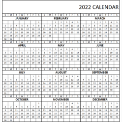 Yearly Calendar 2022 Printable Free