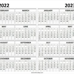 2022 and 2023 Yearly Free Printable on One Page