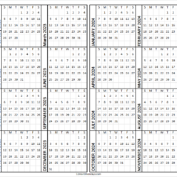 Yearly Calendar 2023 and 2024 Template