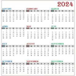 Yearly Calendar 2024 with Notes